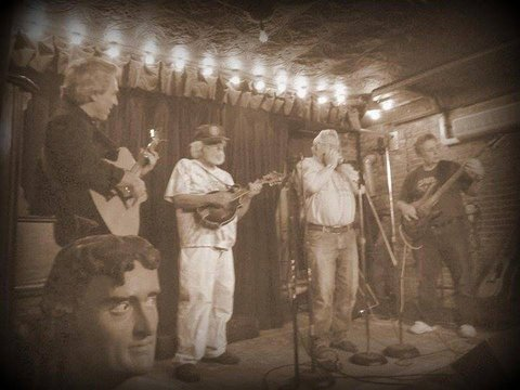 "Camp Kinderland Alumni Blues Band. Only together for one song , Robert Johnson's ""Love In Vain"" From left to right; Red Jeff, Mann the Man, Blues Boy Gershn, Harmonica Yussel and Bro Bobby Buck Biggs on Bass. Photo By Leslie Tenney . Fancy Shmacied by Gerry."